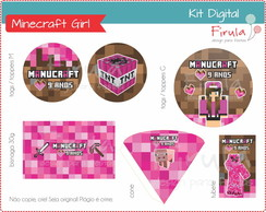 Kit Festa Digital Minecraft Girl