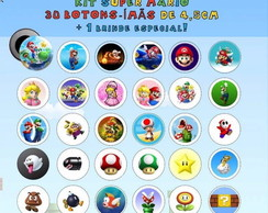 boton/button ímã super mario:kit com 30