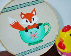 Bastidor Bordado Fox In A Cup (20cm)