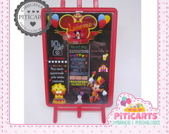 Plaquinha Chalk Board Circo do Mickey