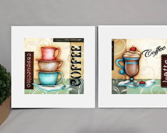 Kit 2 Quadros Decorativos Café Moldura Branca Coffee