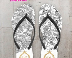 Chinelo 15 anos Floral Preto
