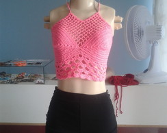 cropped rosa neon em croche