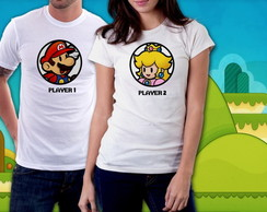 "Kit Camisetas ""Player 1 e Player 2"""