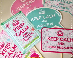 Placa Divertida Keep Calm - Floral
