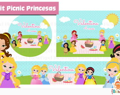 Kit Digital Picnic Princesas(5 rótulos)