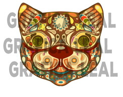 Design floral decorativo gato