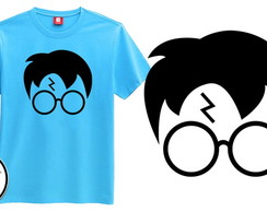 Camiseta azul harry potter face