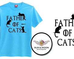 Camiseta azul father of cats camisa