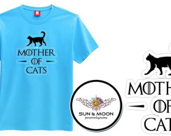Camiseta azul mother of cats camisa