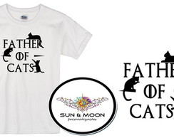 Camiseta branca father of cats camisa