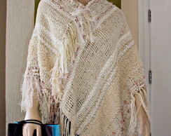 Poncho estilo mexicano no tear manual
