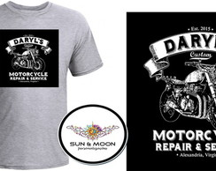 Camiseta cinza daryl motorcycle TWD