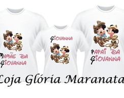 CAMISETA ANIVERSARIO MINNIE e MICKEY C/3