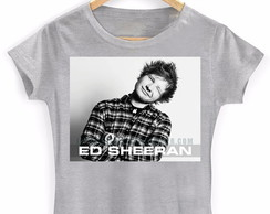 Camiseta Baby look Ed Sheeran Cinza
