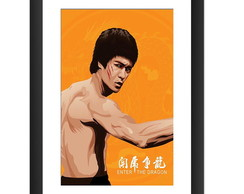 Quadro Bruce Lee Filme Kung Fu Retro Tv