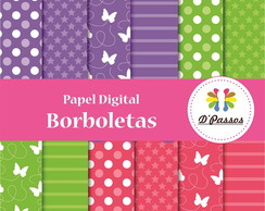 Kit 12 Papel Digital- Borboletas