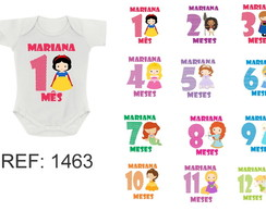 Kit 12 Body Mesversario Princesas Cute