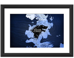 Quadro Game of Thrones Serie Mapa Stark