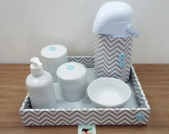 Kit Higiene Chevron Cinza e Azul BT31