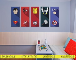 Quadros Super Herois Flat Design 5 un
