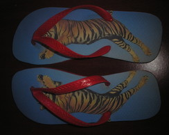 Chinelo Estampado Tigre