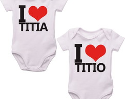 Kit 2 Bodys Bebê Love Titia e Titio Surpresa Titios