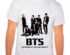 Camiseta Branca BTS Team Integrantes