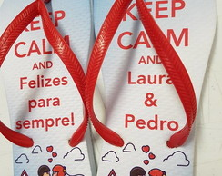 Chinelos Keep Calm and felizes p sempre