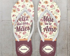 Chinelo Dia das Maes, Floral Beige