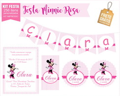 Kit festa impressa Minnie rosa