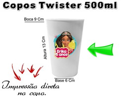 40 Copos Twister 500ml Princesa Elena