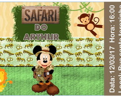 Convite Ingresso - Safari do Mickey