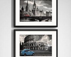 2 Quadros Londres & Roma Retro Paspatur