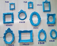 Kit 11 Moldura Azul decorativa