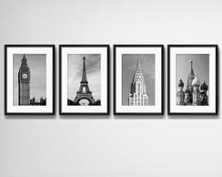 4 Quadros Londres Paris Nova York Moscou