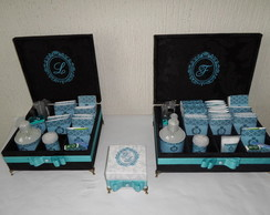 KIT TOILLET PRETO E AZUL TIFFANY