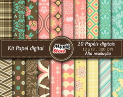 Kit Papel digital Floral 20 papel - 10