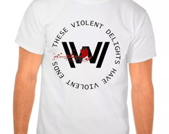 Camiseta Branca Westworld Violent Ends
