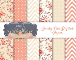 Kit Papel Digital Floral Telha e Bege