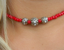 Choker Cristais Red - Cód. C138