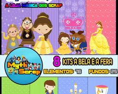 8 Kits Digital Scrapbook A BELA E A FERA