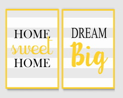 Kit Quadro Decoraitvo - home sweet home frase