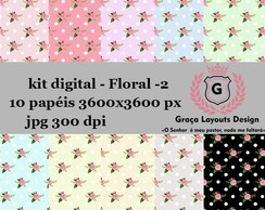 Kit digital papel floral 2