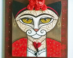 """Cat-Frida in red"""