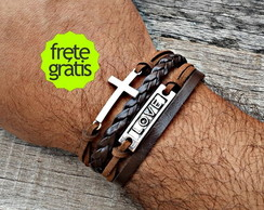 Pulseira Trio Cruz Love