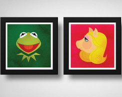 Kit 2 Quadros Muppets Caco & Miss Piggy