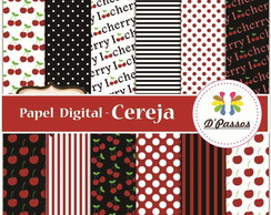 Kit 12 Papel Digital- Cereja