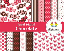 Kit 12 Papel Digital- Chocolate