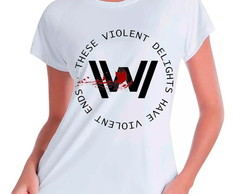 Camiseta Babylook Westworld Violent Ends